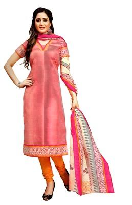 Peach Printed Cotton Unstitched Salwar With Dupatta