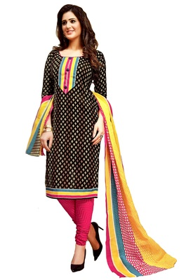 Black Printed Cotton Unstitched Salwar With Dupatta