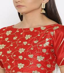 Red embroidered brocade readymade blouse