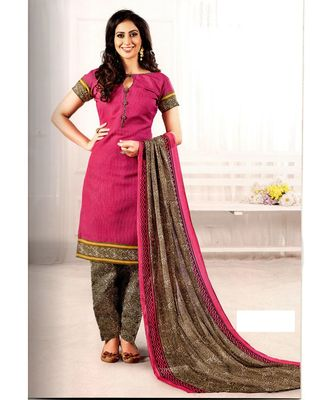 Pink Printed Cotton Unstitched Salwar With Dupatta