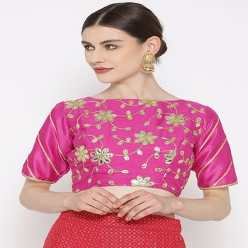 Fuchsia embroidered brocade readymade blouse