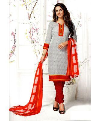 White Printed Cotton Unstitched Salwar With Dupatta