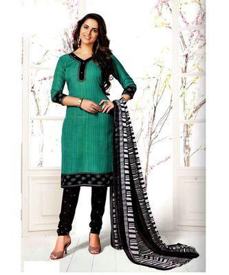 Green Printed Cotton Unstitched Salwar With Dupatta
