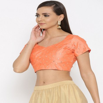 Peach embroidered brocade readymade blouse