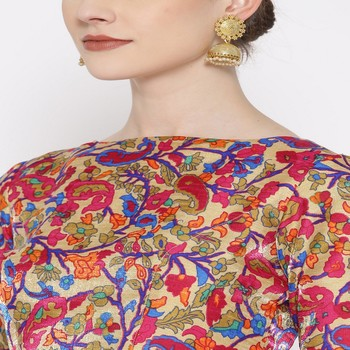 pink embroidered brocade readymade blouse