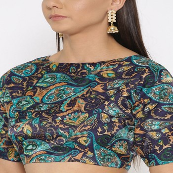 Blue Embroidered Brocade Readymade Blouse