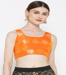 Orange embroidered brocade readymade blouse
