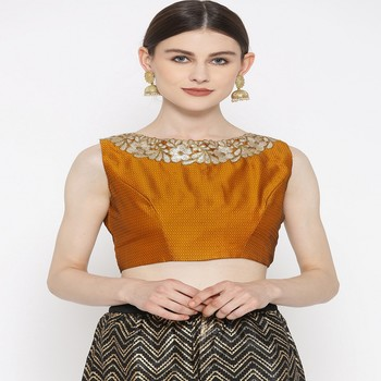 Mustard embroidered brocade readymade blouse