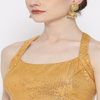 Golden embroidered brocade readymade blouse