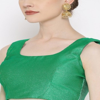 Green Embroidered Brocade Readymade Blouse