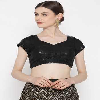 Black embroidered brocade readymade blouse
