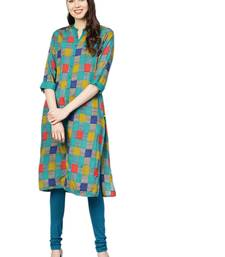 Teal printed liva kurtas-and-kurtis
