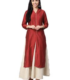 Red plain art silk kurtas-and-kurtis