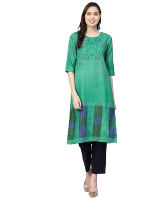 Green printed liva kurtas-and-kurtis