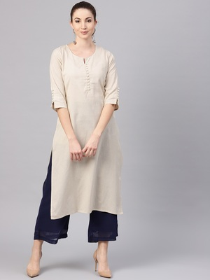 Beige plain cotton kurtas-and-kurtis