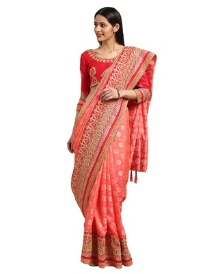 Peach Silk Jacquard Embroidered saree with blouse