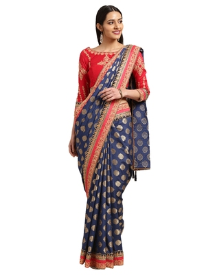 Navy Blue Silk Jacquard Embroidered saree with blouse