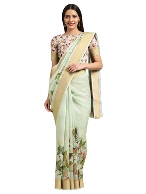 Green Linen Blend Digital Floral Print saree with blouse