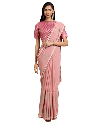 Pink georgette Foil Print saree with blouse