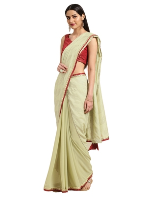 Green georgette Foil Print saree with blouse