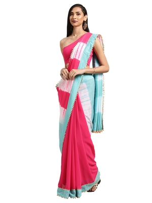Pink georgette Tie & Dye saree with blouse