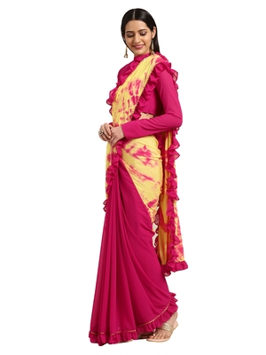 Magenta Georgette Tie & Dye Saree With Blouse