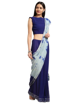 Navy Blue georgette Tie & Dye saree with blouse