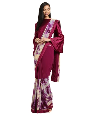 Purple georgette Tie & Dye saree with blouse