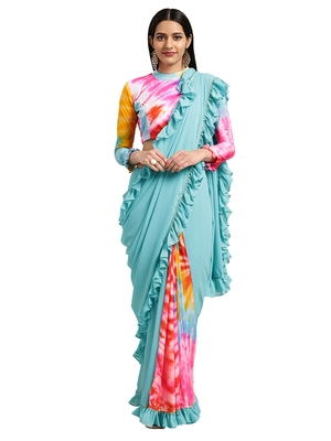 Multi Georgette Tie & Dye Saree With Blouse