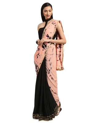 Black & Peach georgette Tie & Dye saree with blouse