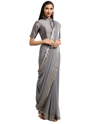 Grey Viscose georgette Woven saree with blouse