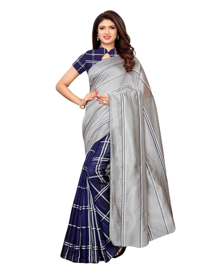 Navy blue woven chanderi saree with blouse