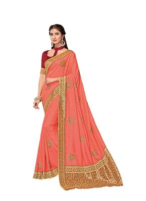 Dark peach embroidered art silk saree with blouse
