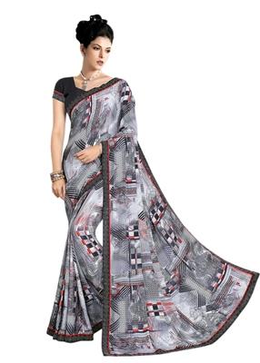Grey printed crepe saree with blouse