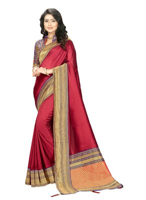 Magenta embroidered cotton silk saree with blouse