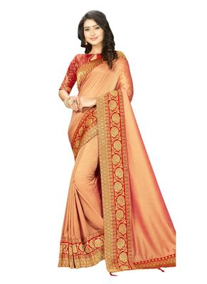 Peach embroidered cotton silk saree with blouse