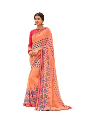 Peach  printed georgette saree with blouse