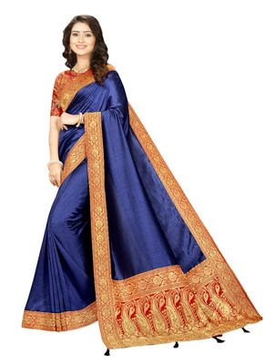 Royal blue embroidered cotton silk saree with blouse