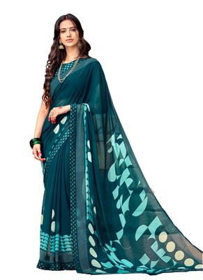 Teal printed georgette saree with blouse
