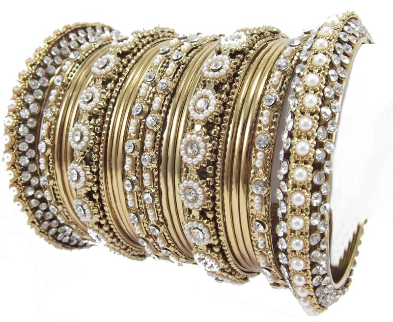 Buy Traditional Flower Design Gold Plated 20pc New Bangles