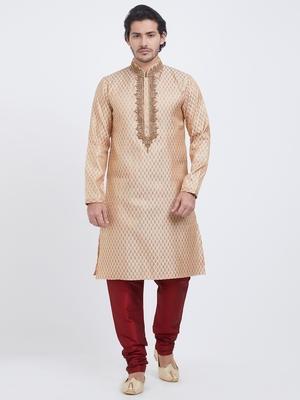 Fawn plain art silk kurta pajama