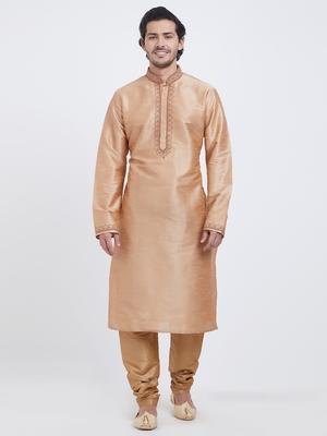 Orange plain art silk kurta pajama