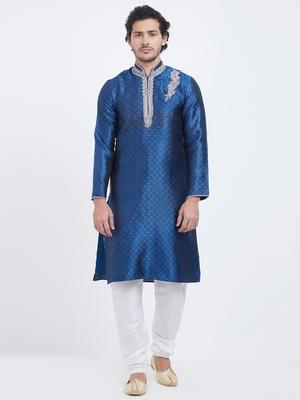 Navy Blue embroidered art silk kurta pajama