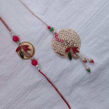 Handmade Golden & Pink Bhaiya Bhabhi Rakhi Set / Pair Rakhi