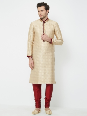 Beige embroidered art silk kurta pajama