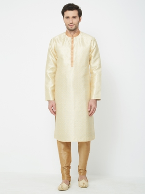 white embroidered art silk kurta pajama