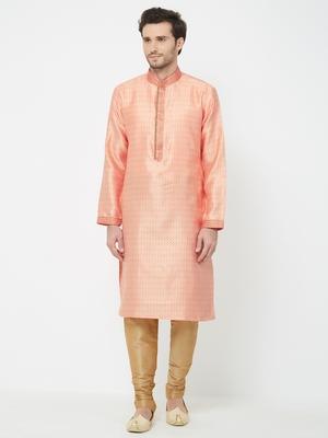 Orange embroidered art silk kurta pajama