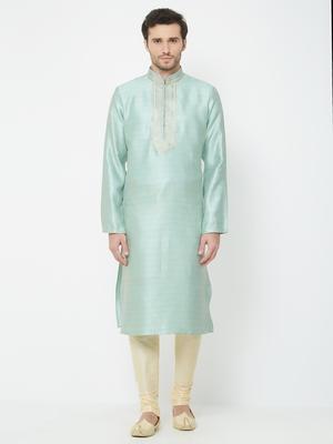 Sky Blue embroidered art silk kurta pajama