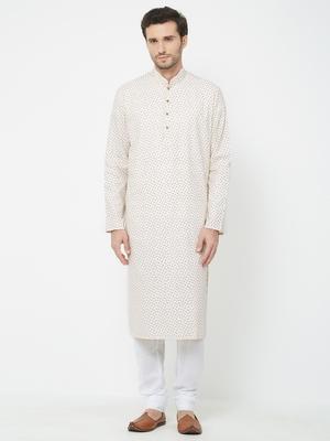 White Embroidered Cotton Kurta Pajama