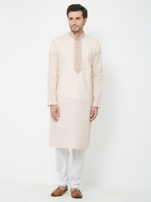 white embroidered cotton kurta pajama